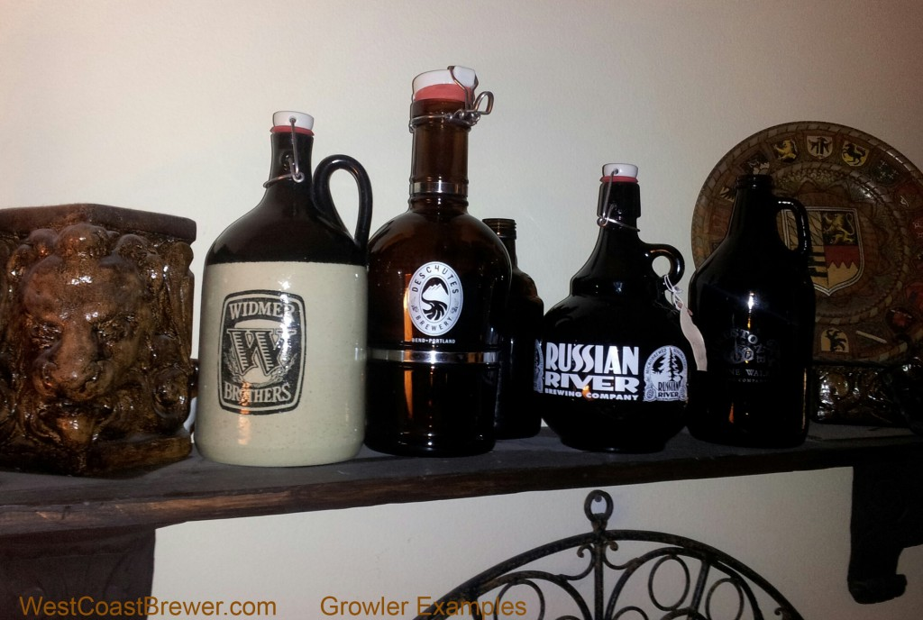 An example of 5 different beer growlers